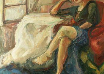 Obraz olejny, oryginał - Kobieta w fotelu