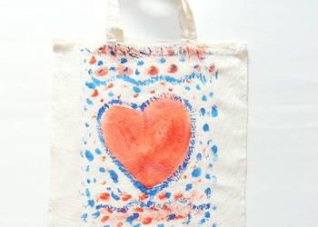 malowana torba z serduszkiem,rustykalny worek płocienny eko