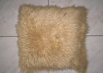 Puszysta beżowa poszewka na poduszkę jasiek 45 cm x 45 cm