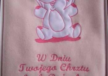 Wesoły słonik - kocyk z haftowaną dedykacją lub metryczką