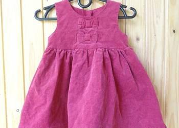 sukienka różowa sztruksowa kokardy 6 9 miesięcy 74 cm