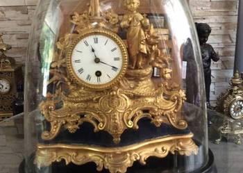 ANTYK bardzo stary zegar kominkowy w szklanej tubie Jezus