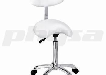 Fotel krzesło siodłowe z oparciem białe obrotowe