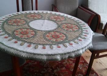 Okrągły obrus rękodzieło ręczny haft wełna antyk cudo raryta