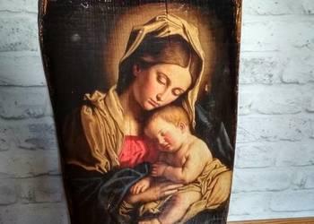 "Ikona na starej desce ""Matka Boska"" prezent"