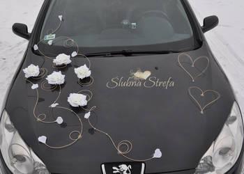 Piękna dekoracja na samochód, dekoracja samochodu ślubnego