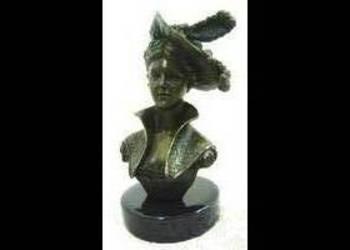 Dama w kapeluszu Figura z brązu Rzeźba Francja Popiersie