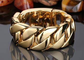 Złota bransoletka,bransoleta męska oryginalna stal 316l nowa