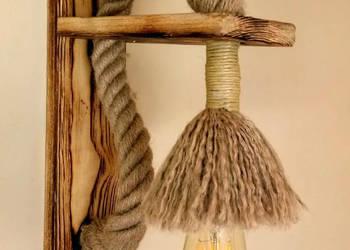 Drewniany kinkiet sznur jutowy VINTAGE loft RETRO