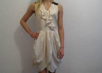 Nowa sukienka letnia ecru koronka, żabocik, rozcięcie S/M