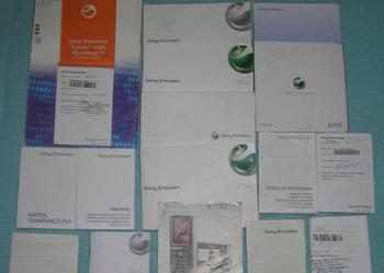 Pozostałości po Sony Ericsson - instrukcje, płyty, karty