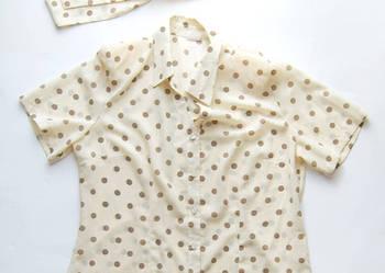 bluzka w groszki rozmiar L,elegancka bluzka ecru-size L
