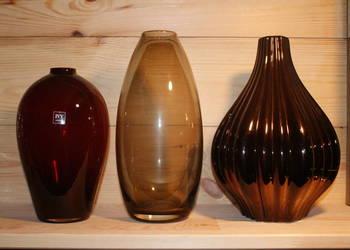Wazon szklany - dymny karbowany bordowy