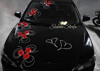 dekoracja na samochód, ozdoby ślubne na auto, przystrojenie