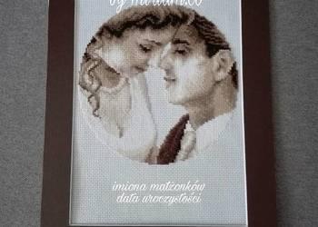 slub wesele rocznica pamiatka obrazek haft prezent