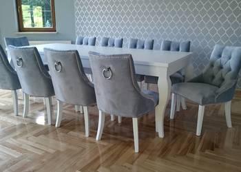 Pikowane tapicerowane krzesło z kołatką glamour producent