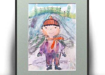 ręcznie malowany obrazek dla dziecka,chłopczyk rysunek