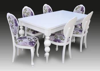 Klasyczny Biały Zestaw,Stół 90/160/215 + 6 Krzeseł,Nowość