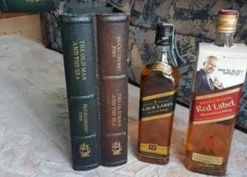 Barek schowek na wódkę whisky 2 butelki jak książka drewno U