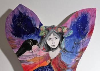 Obraz namalowany na drewnie ''Anioł magiczny 2''