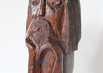 Chrystus Frasobliwy, Duża Rzeźba Ludowa 44 CM