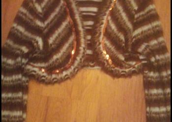 Śliczne bolerko z włosem,paski,cekiny , jedyne TANIO 158cm-164 cm