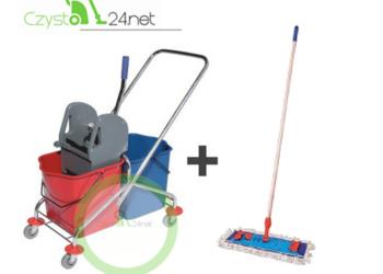 Najnowsze Wózek do sprzątania 2x25L chromowany z kompletem mopa Warszawa PR42