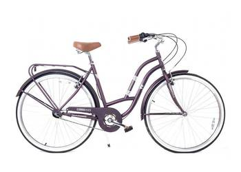 Rower miejski damski Vintage 28 cala 3 biegi Fiolet-HelloBik