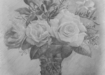 Rysunek ołówkiem grafika Kwiaty Miniatura obraz dekoracja