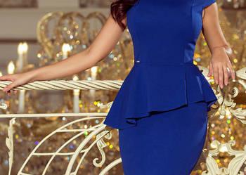 JOKASTYL ołówkowa sukienak z baskinka midi chabrowa S M L XL