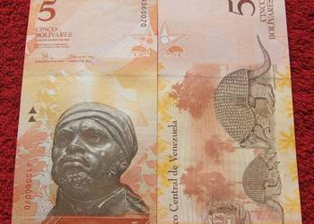 WENEZUELA 5 Bolivarów PANCERNIK Kolekcjonerski Banknot UNC