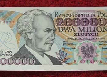 POLSKA PRL 2000000 ZŁ IGNACY JAN PADEREWSKI Banknot UNC