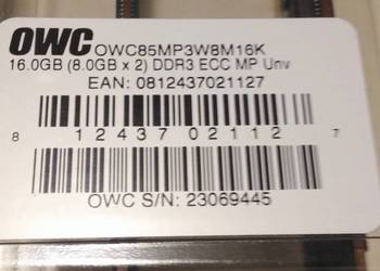 Pamięć 2 x 8,0 GB PC8500 DDR3 ECC 1033 MHz 240 Pin OWC