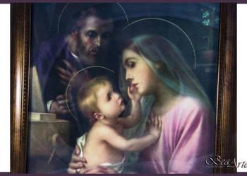 Obraz Świętej Rodziny ramka oszklony, prezent ślub