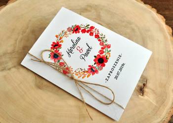 zaproszenie rustykalne ze sznurkiem kwiaty boho