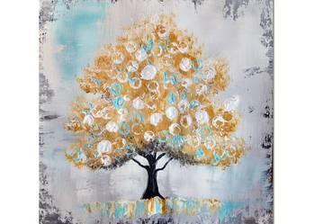 Złote drzewo, nowoczesny obraz ręcznie malowany