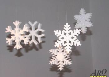 Płatki śniegu, gwiazdki, ozdoby świąteczne, grubość 2 cm !