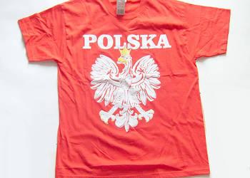 koszulka z orłem,czerwona koszulka napis Polska i orzełek