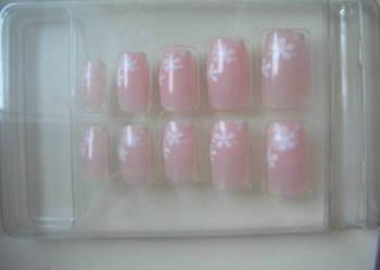 NOWE Tipsy różowe w kwiatki Sztuczne paznokcie