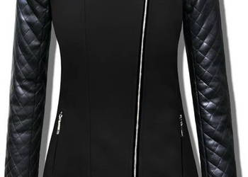 Ciepy Damski Płaszcz Ramoneska Skórzane Rękawy model #76
