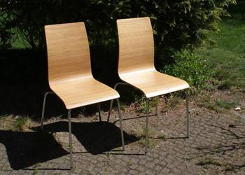Krzesło do kuchni jadalni drewno naturalne chrom - 2 szt