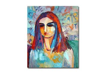 Nowoczesny obraz olejny na płótnie, kobieta obraz oryginał