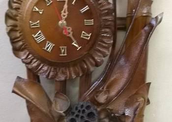 Zegar ścienny specjalna dekoracja ze skóry i bambusa