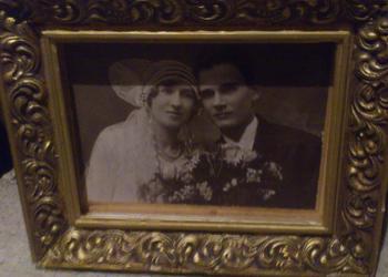 obraz reprodukcja ślub oprawa złota .