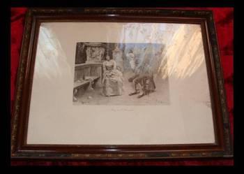 Stary duży obraz A. Zoppi Firenze 72cmx92cm