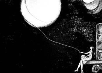Rysunek piórkiem ''Księżyc z włóczki'' artystki A. Laube