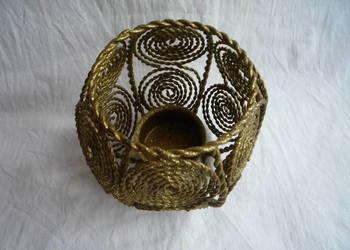 Almi Decor świecznik na podgrzewacz złocony Lampion Rustykal