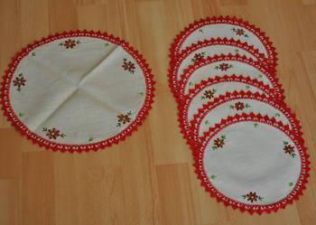 serwetki lniane haftowane PRL starocie
