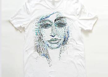 Biała koszulka XL z  grafiką - face 1,elastyczna koszulka xl