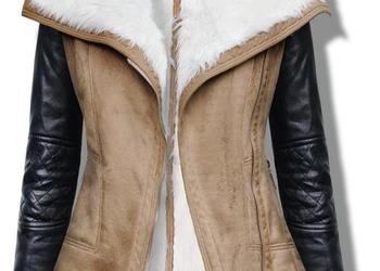 Kożuszek Damski Ramoneska Skórzane Rękawy #55 rozm:S,M,L,XL FASHIONAVENUE.PL